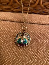 PAST TIMES Locket Long Necklace Gold Tone Green Blue Peacock Feather Unworn (b17