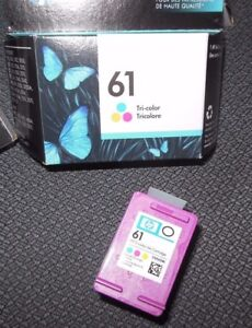 2 Genuine HP 61 tricolor ink Cartridges 1 in the box, 1 out of the box