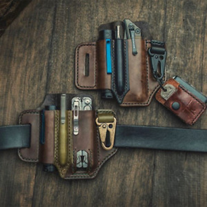 US - Men's Multitool Leather Sheath EDC Pocket Organizer - High Leather Quality