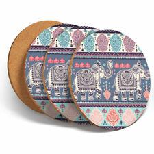 4 Set - Indian Lotus Elephant Ethnic Coasters -Kitchen Drinks Coaster Gift #2844