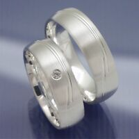 1 Paar Verlobungsringe oder Freundschaftsringe aus 925 Silber mit Stein P7112011