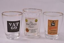 3 VINTAGE Whiskey Tots Shot Glass Collection White Horse VAT69 Bacardi