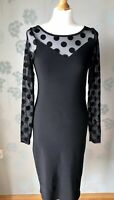 Black Dress 12 River Island Polka Dot Sheer Sweetheart Party Rockabilly Wiggle