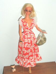 VINTAGE Barbie STEFFIE SunSet MALIBU TNT Japan DOLL w/Dress Dog Purse Heels