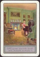 Playing Cards Single Card Old Vintage Wide GAS FIRE Advertising PIANO Music GIRL