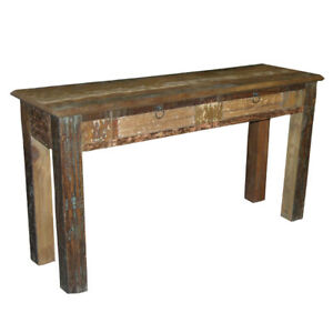 """60"""" L Console Table Hand Crafted Rustic Recycled Solid Woods One of a Kind"""