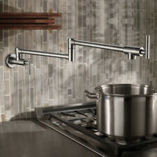 Swivel Wall Mounted Kitchen Sink Foldable Mixer Faucet Brushed Nickel Brass Taps