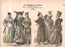 1880 Chromo Fashion print of 1600-1750 Turkey - Sultan, harem and military