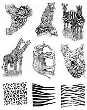 Full Sheet of Rubber # 59 Halloween Rubber Stamp Dies,Leopard, Jaguar, Zebra