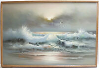 Large Acrylic On Canvas Sea Scene Ocean Painting By Jane Suouns