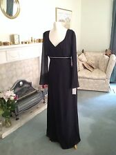 BNWT Gorgeous Ladies Black Chiffon Evening Dress - Size 8