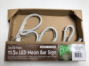 "11.5"" LED Tube Neon Lighted ""Bar"" Sign - Lone Elm Studio 93403 w/ Timer"