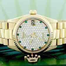 Rolex President Datejust Midsize Yellow Gold 31MM 68278 w/Diamond,Emerald Dial