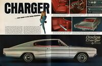 """1966 Dodge Charger 383 Fastback Coupe photo """"The Hot New One"""" 2-page print ad"""