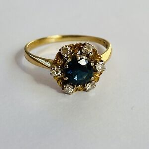Vintage 18ct Yellow Gold Sapphire & Diamond Cluster Ring Size N