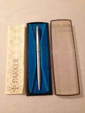 VINTAGE PARKER 45 FLIGHTER CHROME TRIM BALLPOINT PEN-ENGLAND-BOXED-BOOKLET.