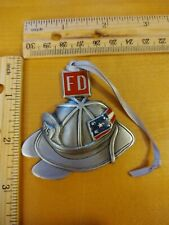 """Fire Department Fireman Hat Pewter Christmas Ornament  2.5"""" x 2.5"""" Made In USA"""
