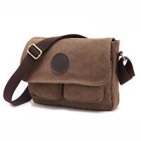 Men's Vintage Canvas Leather Satchel Military Shoulder Bag Messenger Bag