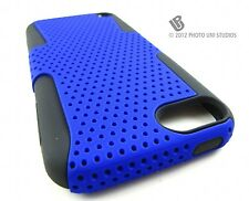BLUE PERFORATED RUBBERIZED HARD CASE COVER APPLE IPOD TOUCH 5 5TH ACCESSORY