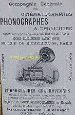 PUBLICITE PATHE GRAMOPHONE PHONOGRAPHE CINEMATOGRAPHE PELLICULE DE 1899 AD RARE