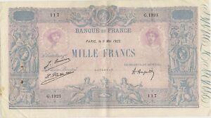 Billet de 1000 f. bleu & rose du 5/5/1925 G.1921 entier sans déchirure rare état