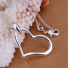 Heart Beautiful Necklace With Pendant Women Fashion Silver plated Chain