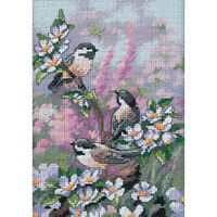 "Gold Petite Chickadees In Spring Counted Cross Stitch Kit-5""X7"" 16 Count"