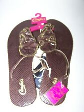 Womens size 11 Flip Flops  CANDIES Brown shoe ZIPPER sandals XL $22 NEW size 11