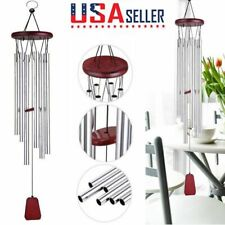 "33"" Wind Chimes Aluminum Tubes Hanging Ornament Home Outdoor Garden Decor Silver"