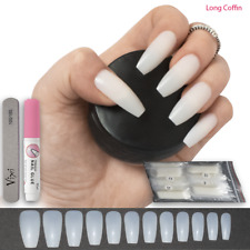 50 X Long Opaque Coffin Ballerina False Nails Glue On Full Cover Kits Free