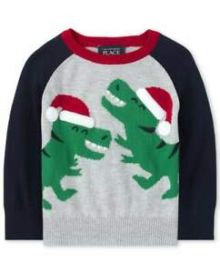 NWT The Childrens Place Dinosaur Baby Boys Christmas Sweater 12-18 Months