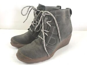 Sorel Green Suede Wedge Heel Boots NL2115-245 Women Sz 7.5 16607