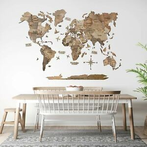 3D Wall World Map Wooden Art Decor Handmade Wood Decoration Gift for Living Room
