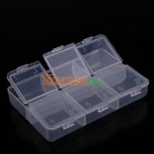 Clear Plastic Jewelry Box With 6 Cell Small Pill Storage Container Organizer NEW