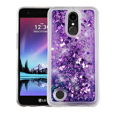 For LG Harmony M257 Liquid Glitter Quicksand Hard Case Phone Cover Purple Hearts