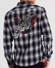 NEW Adam Levine Mens Slim Fit Plaid Flannel Button Down Shirt Tiger *NWT SMALL S
