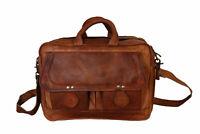 Mens New Real Goat Leather Laptop Messenger Briefcase Shoulder Vintage Brown Bag