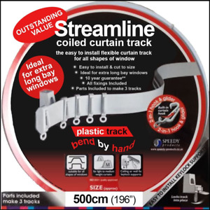 5 METER BENDABLE CURTAIN TRACK FOR STRAIGHT- BAY WINDOW RAIL-3 STANDARD WINDOWS