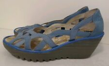 Fly London YADI Light Blue Suede Wedge Cut Out Sandals Womens Size EU 40 US 9.5