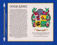 "ENGLISH HERITAGE COAT OF ARMS & SURNAME HISTORY PRINT 10"" x 8"" & A4 FREE GIFT"