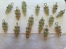 Vintage Imported Poured Yellow Luster Grape Cluster Drops Glass Trade Bead Lot