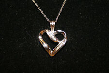 KAY'S 10K SOLID WHITE GOLD WG DIAMOND HEART PENDANT NECKLACE  8 diamonds G99