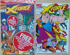Lot of 2, X-Force, Vol 1 #1 (sealed w/ Cable trading card) #5 (Marvel, 1991) NM