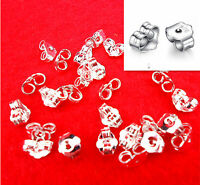 50 EAR Thread~Wire Earring STOPPERS//KEEPERS~ Ribbed PVC Plastic Spacers Clear