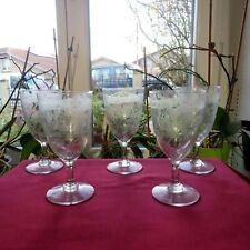 5 verre à eau en cristal gravé au superbe décor de fougères