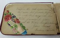 Antique Red Velvet Cloth Book of Love Poems and Class Wishes 1892