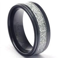 Black Zirconium Ring Gibeon Meteorite Inlay Mens Wedding Band Polished Steps LWR