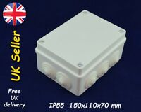 Weatherproof adaptable enclosure Junction box 150x110x70mm IP55 White, grommets