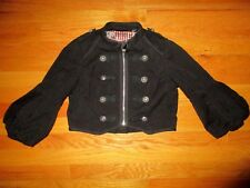 Forever 21 Twist Cirque Cropped Military Ring Master Black Zip Jacket Size Small