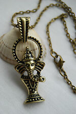Retro vintage style antique bronze look necklace lucky small elephant pendant